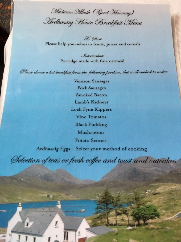 Breakfast menu, Ardhasaig House