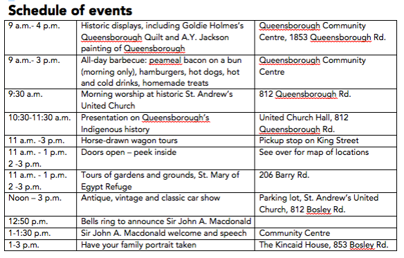 Schedule of events for Historic Queensborough Day