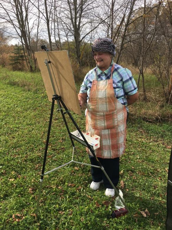 Artist Nicole Amyot at work