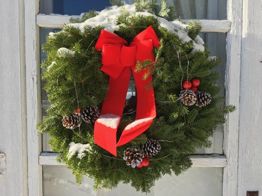 Front-door wreath, Dec. 24, 2017