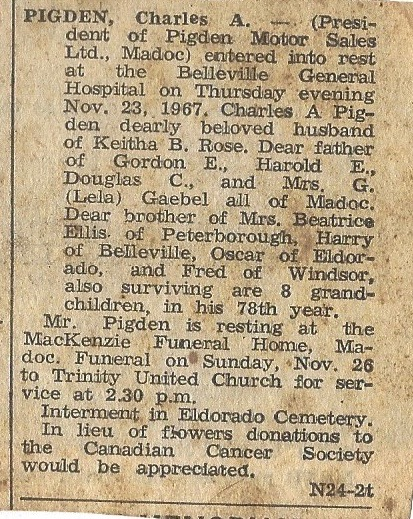 Charlie Pigden death notice