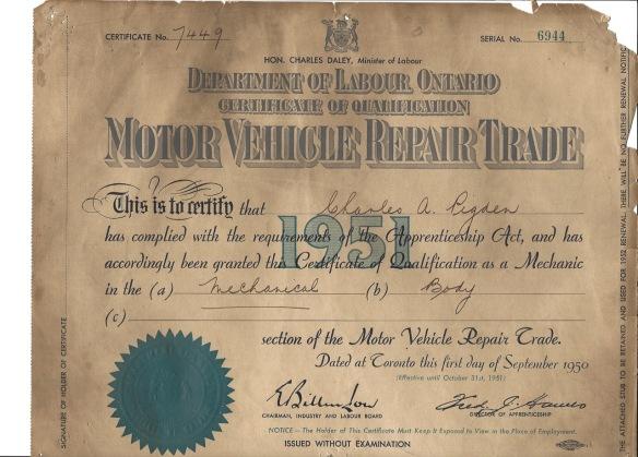 Garage certificate