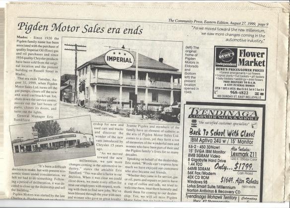 Pigden Motor Sales era ends