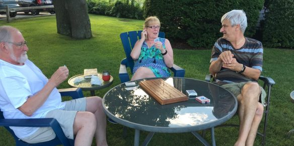 Raymond, Jeannie and Bob playing cribbage