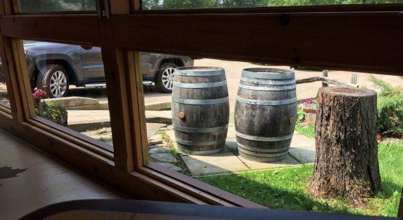 Wooden rain barrels