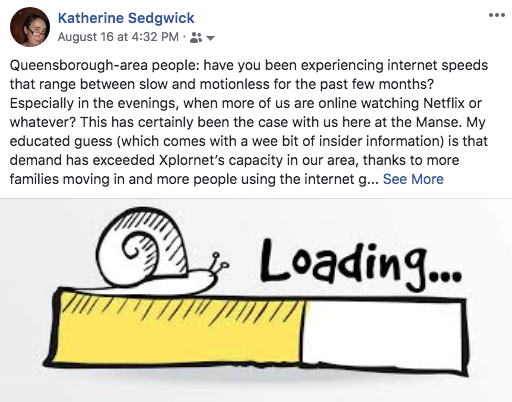 Facebook post on slow internet