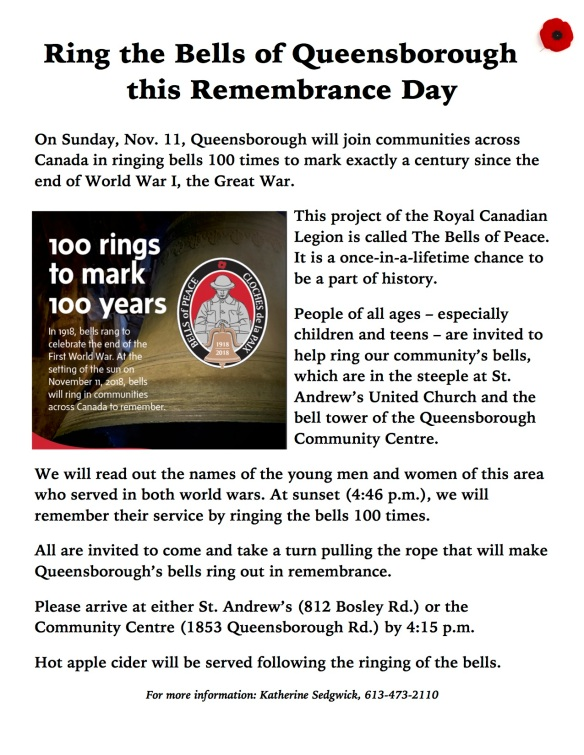 Ring the Bells of Queensborough this Remembrance Day