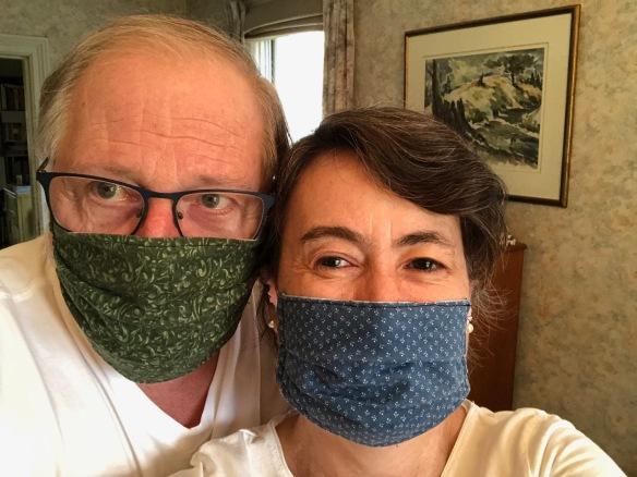 Raymond and Katherine in Eliza's masks